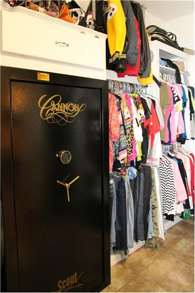 Gun safe in HUGE walk in closet!