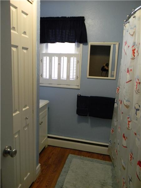 Updated bathroom with linen closet
